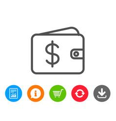 Shopping wallet line icon dollar sign vector