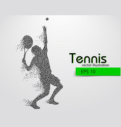 Silhouette of a tennis player from triangles vector