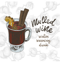sketch drawing mulled wine on vector image