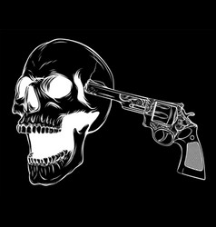 Suicide skull with gun in black background vector