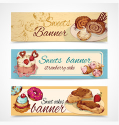 Sweets colored banners vector image