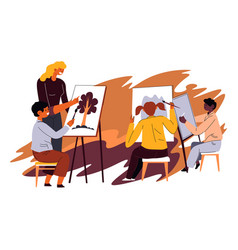 Teacher in art classes with kids painting lessons vector