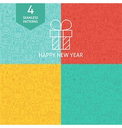 Thin Line Happy New Year Holiday Patterns Set vector image