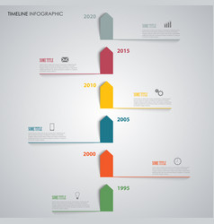 time line info graphic with colored arrows above vector image