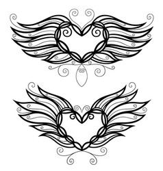 two filigree hearts vector image