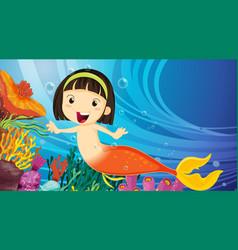 Underwater scene with little mermaid cartoon vector