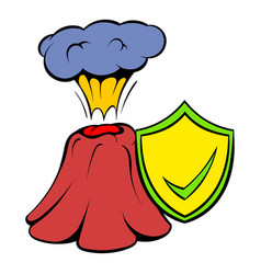 volcano erruption and yellow shield with tick icon vector image
