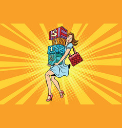 young woman with boxes sale buyer and shopping vector image