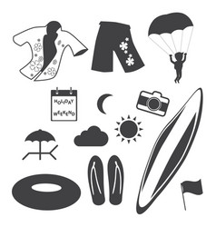 beach icons set vector image vector image