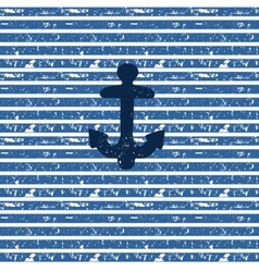 Blue anchor on seamless nautical striped vector image vector image