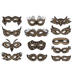 carnival mask set vector image