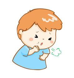 coughing boy cartoon vector image vector image