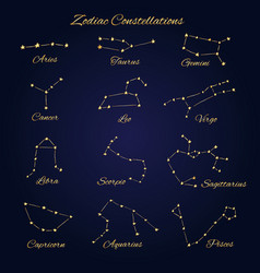 hand drawn gold zodiac constellations set of 12 vector image vector image