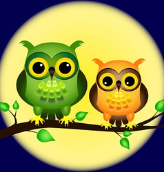 Owls on branch with full moon vector image vector image