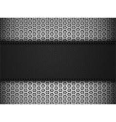 Black leather panel on black mesh landscape vector image