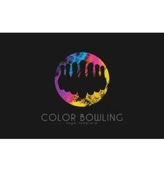 Bowling game logo Color bowling Sport logo vector image vector image