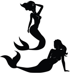 collection of mermaid silhouettes vector image vector image