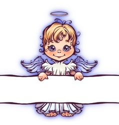 cute angel with panel for vector image vector image