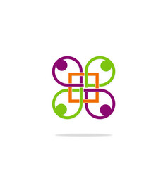 geometry group people connection logo vector image vector image