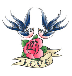love tattoo with swallows and rose vector image