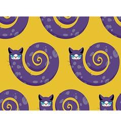 Purple Cat seamless pattern Fabulous animals vector image