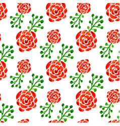 seamless pattern with watercolor roses floral vector image vector image