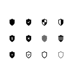 Shield icons on white background vector image
