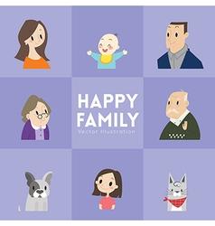 big happy family cartoon portrait vector image