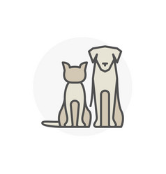 cat with dog icon vector image