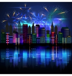 City at night with fireworks vector image