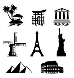 landmark icons vector image vector image