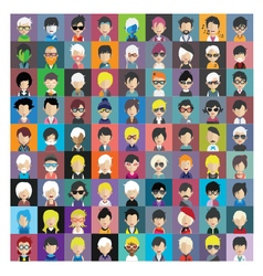 Set of people icons in flat style with faces 13 b vector image