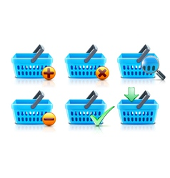 supermarket shopping baskets vector image vector image