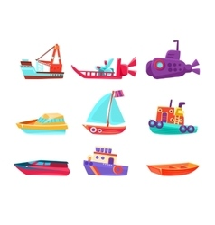 Water Transport Toy Boats Set vector image