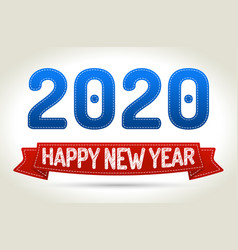 2020 - happy new year- red ribbon with shadow on vector image vector image