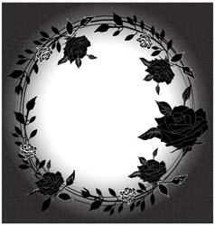 Floral background with rose black and white vector image vector image