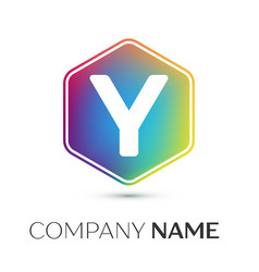 letter y logo symbol in the colorful hexagonal on vector image vector image