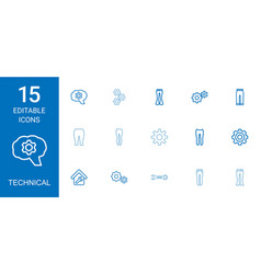 15 technical icons vector