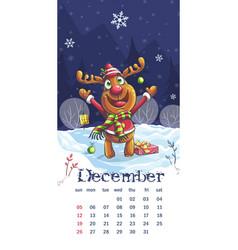 2021 calendar december funny cartoon deer vector