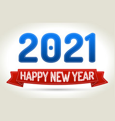 2021 - happy new year- red ribbon with shadow on vector image