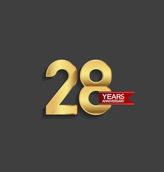 28 years anniversary simple design with golden vector