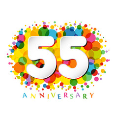 55 years anniversary paper colorful logo vector