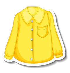 A sticker template with yellow shirt for women vector