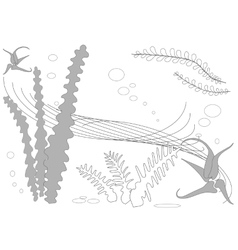 Abstract Underwater Plants and Algae Background vector