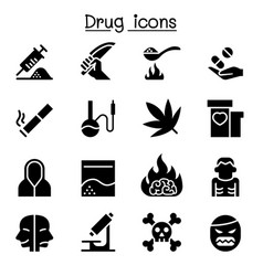 addiction drug icon set graphic design vector image