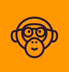 Ape monkey with glasses line icon vector