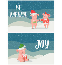 be merry winter holidays joy postcards with pigs vector image