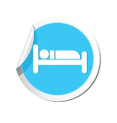 Bed blue label vector