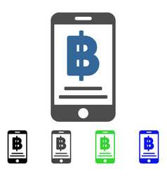 Bitcoin mobile payment flat icon vector