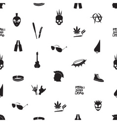 Black and white punk icons seamless pattern eps10 vector